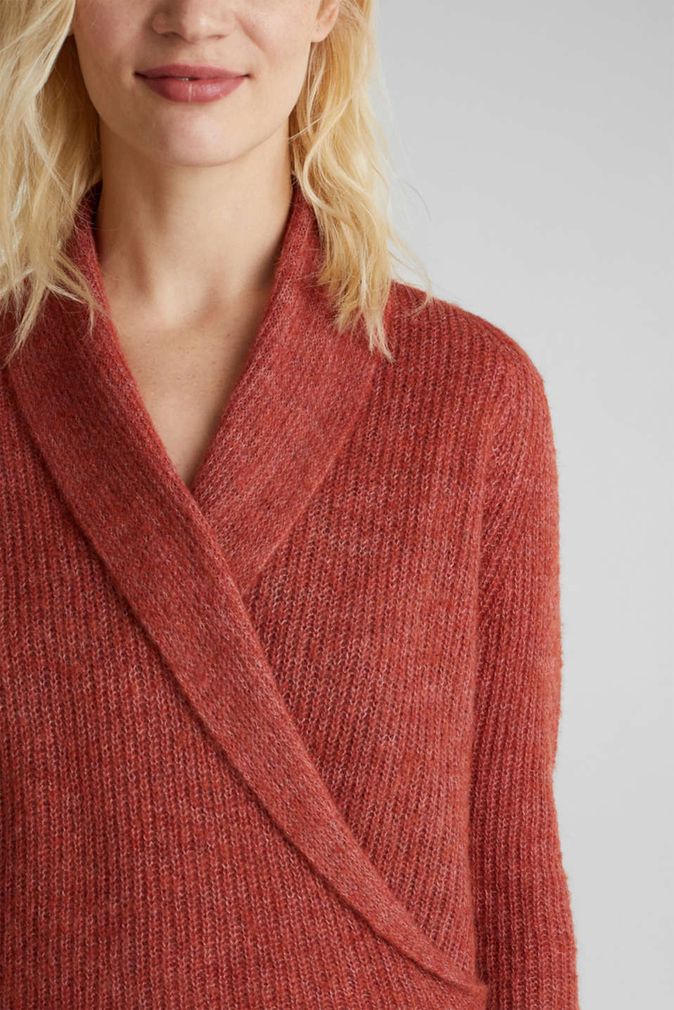 With wool/alpaca: jumper in a wrap-over look, TERRACOTTA 5, detail image number 2