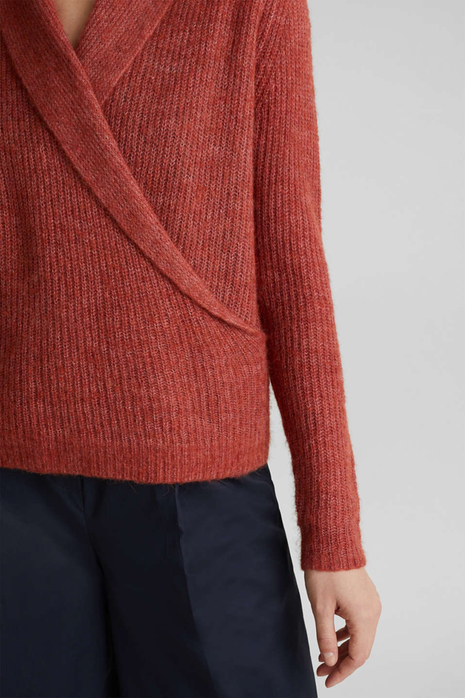 With wool/alpaca: jumper in a wrap-over look, TERRACOTTA 5, detail image number 5