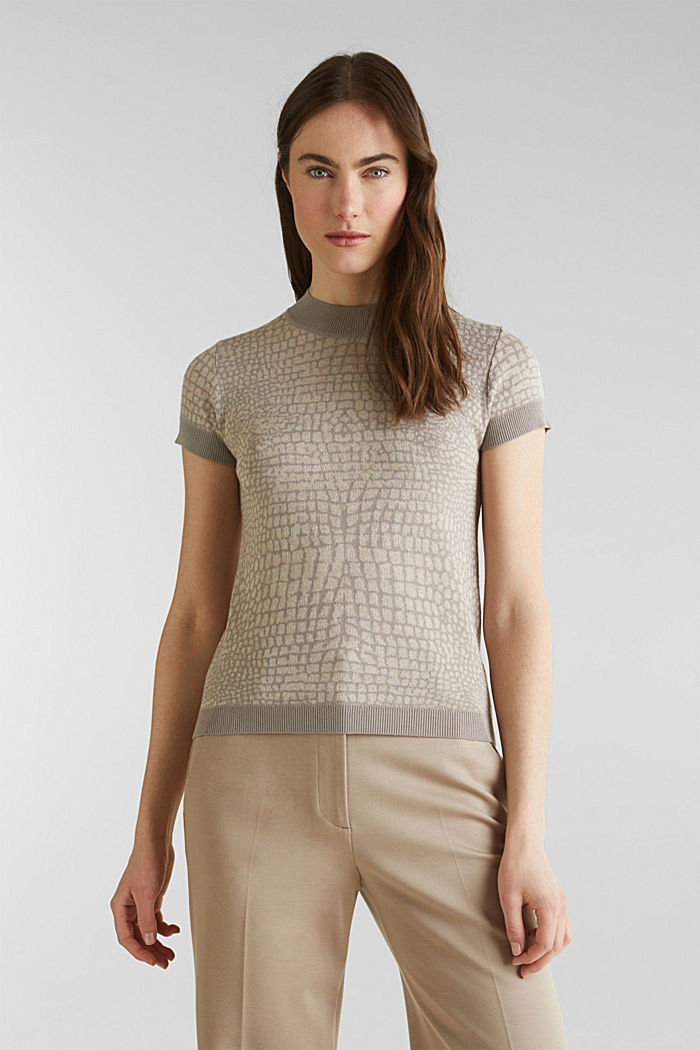 Kurzarm-Pullover mit Jacquard-Muster, NUDE, detail image number 0
