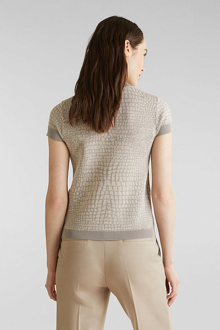 Kurzarm-Pullover mit Jacquard-Muster, NUDE, detail image number 2