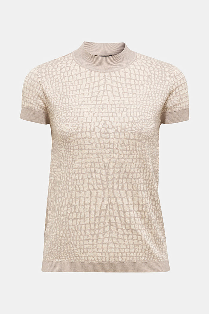 Kurzarm-Pullover mit Jacquard-Muster, NUDE, detail image number 5