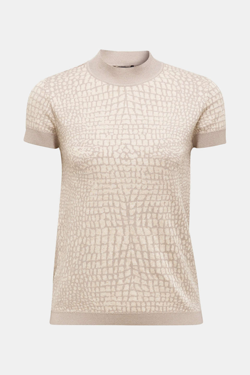 Short sleeve jumper with a jacquard pattern, NUDE 5, detail image number 5