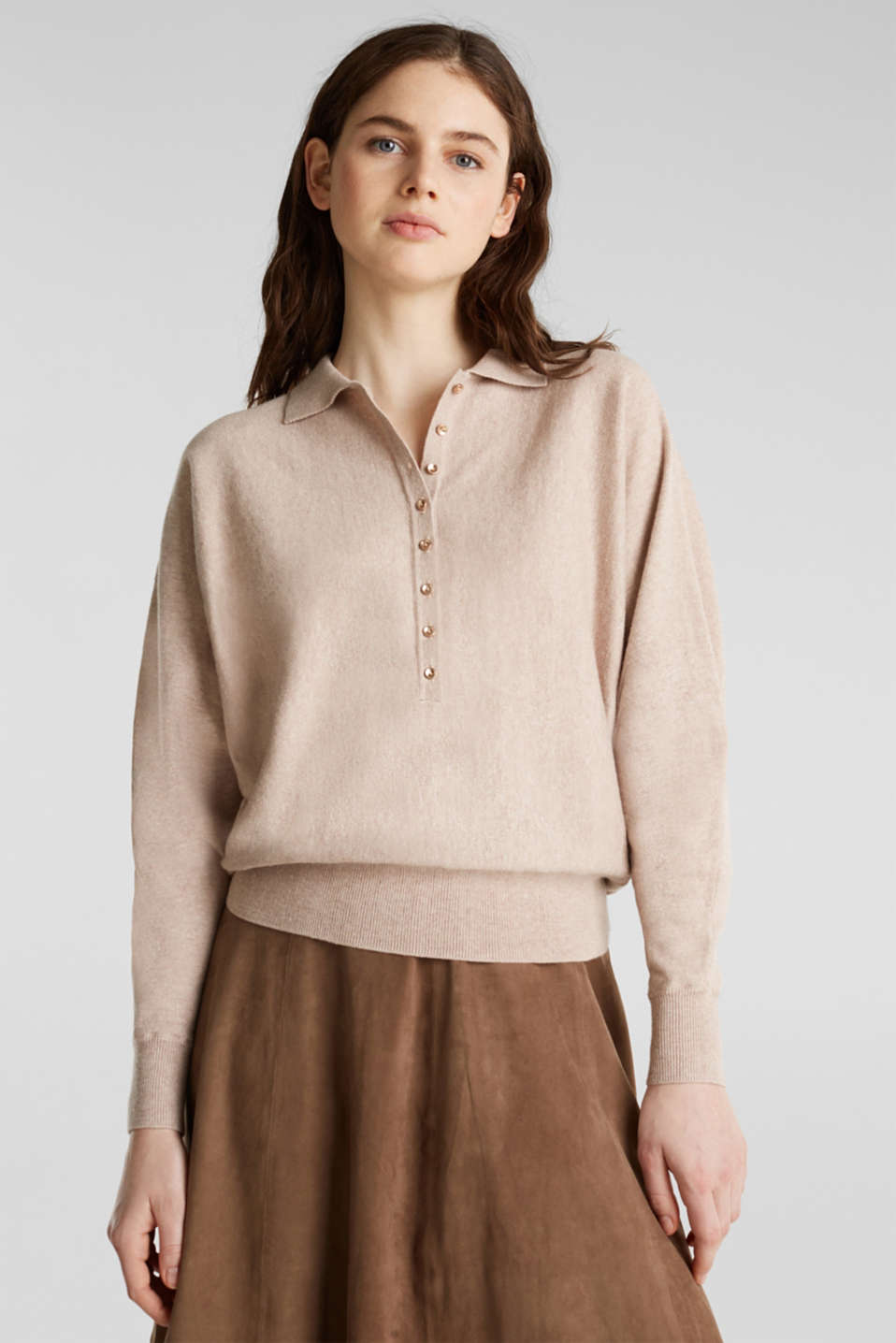 Esprit - With wool/cashmere: jumper with polo shirt collar