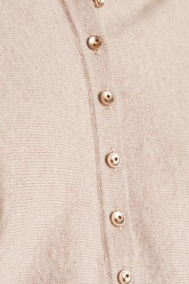 With wool/cashmere: jumper with polo shirt collar, LIGHT TAUPE, detail