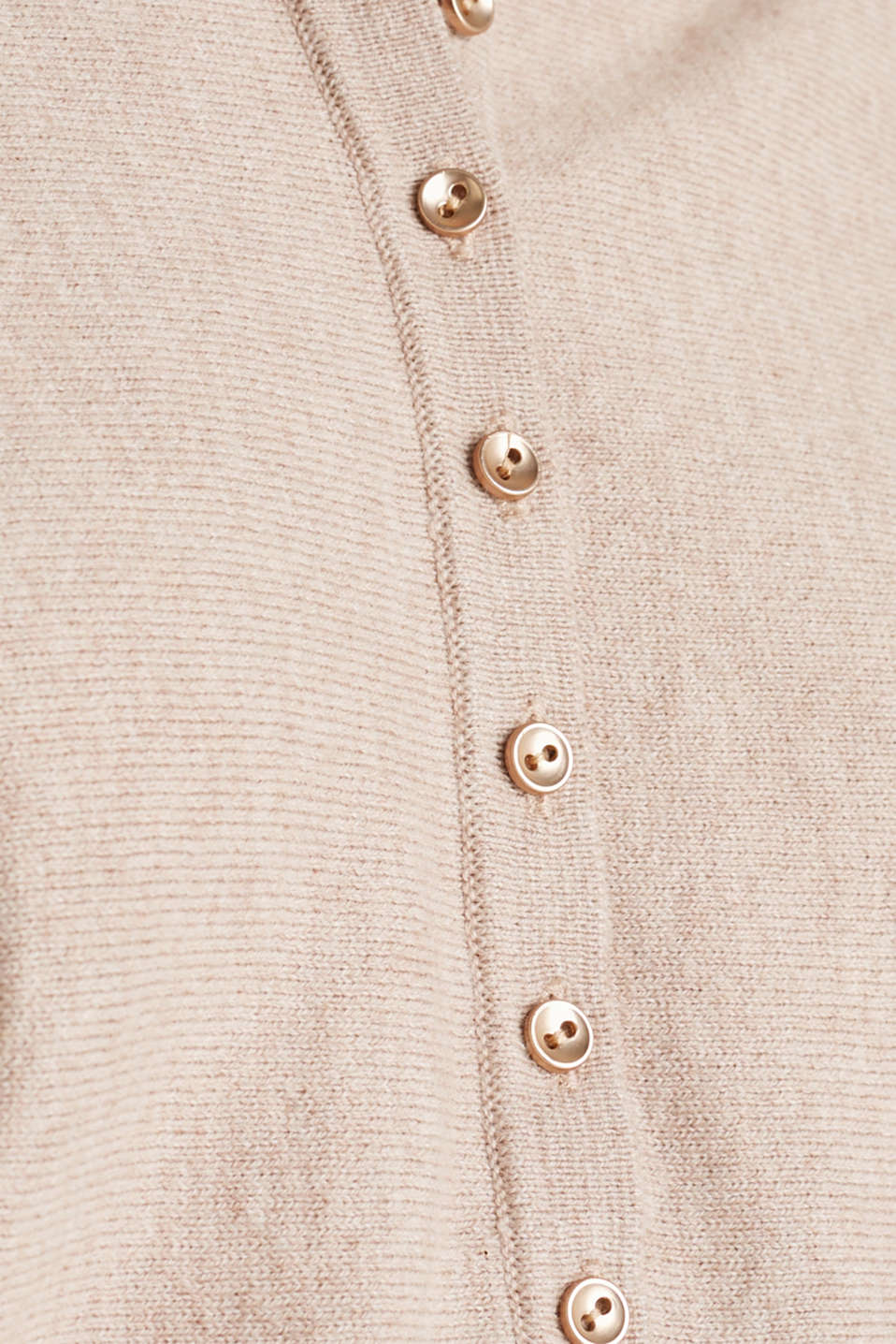With wool/cashmere: jumper with polo shirt collar, LIGHT TAUPE, detail image number 4