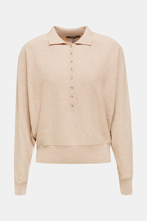 With wool/cashmere: jumper with polo shirt collar
