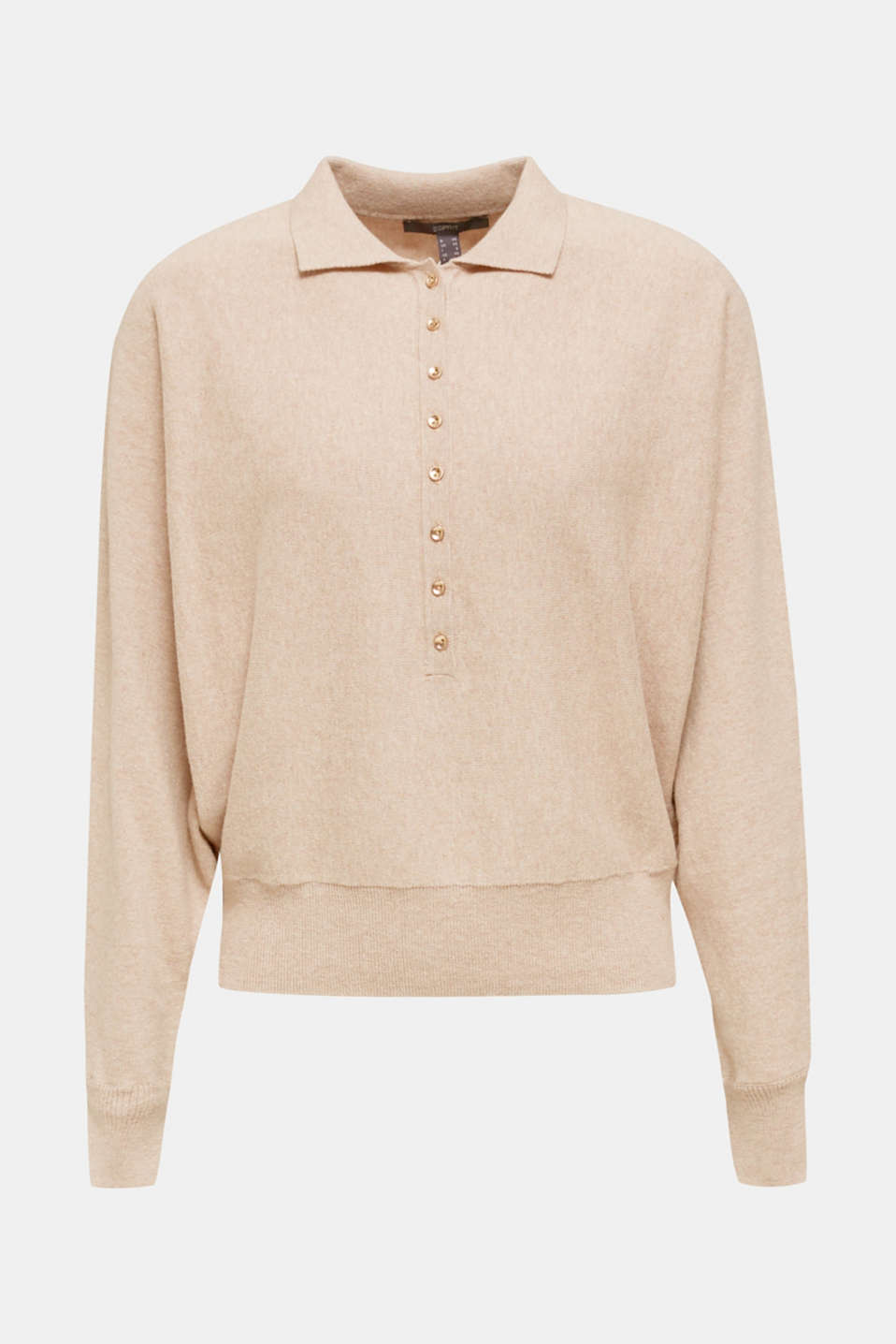 With wool/cashmere: jumper with polo shirt collar, LIGHT TAUPE, detail image number 8