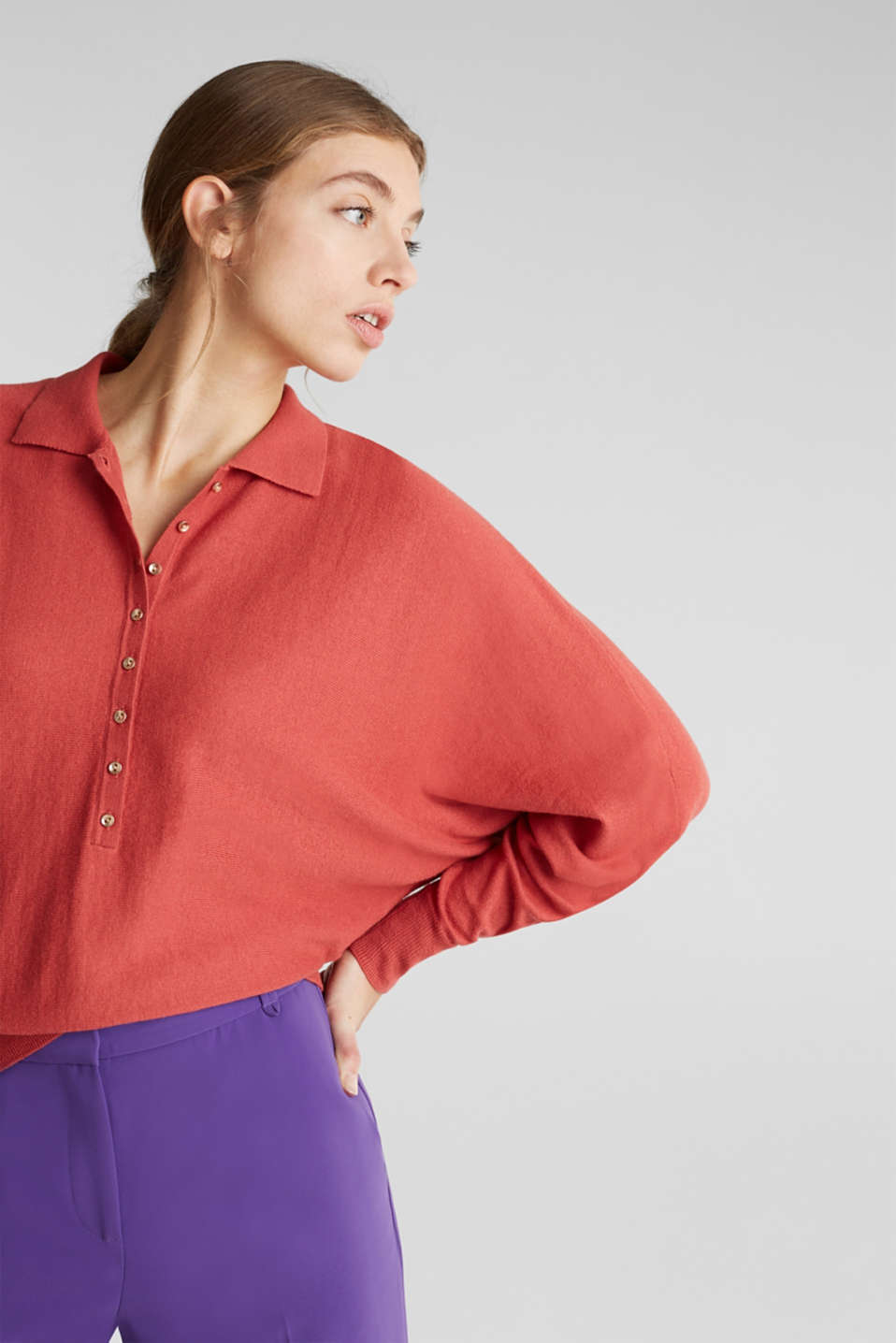 With wool/cashmere: jumper with polo shirt collar, TERRACOTTA, detail image number 0