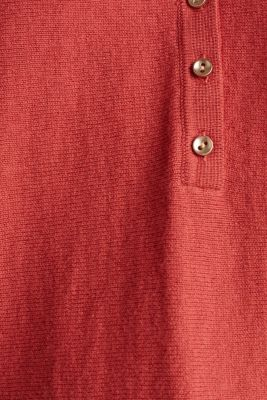 With wool/cashmere: jumper with polo shirt collar, TERRACOTTA, detail