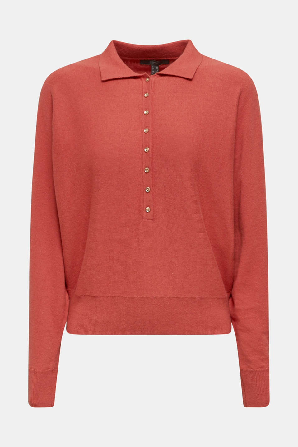 With wool/cashmere: jumper with polo shirt collar, TERRACOTTA, detail image number 6