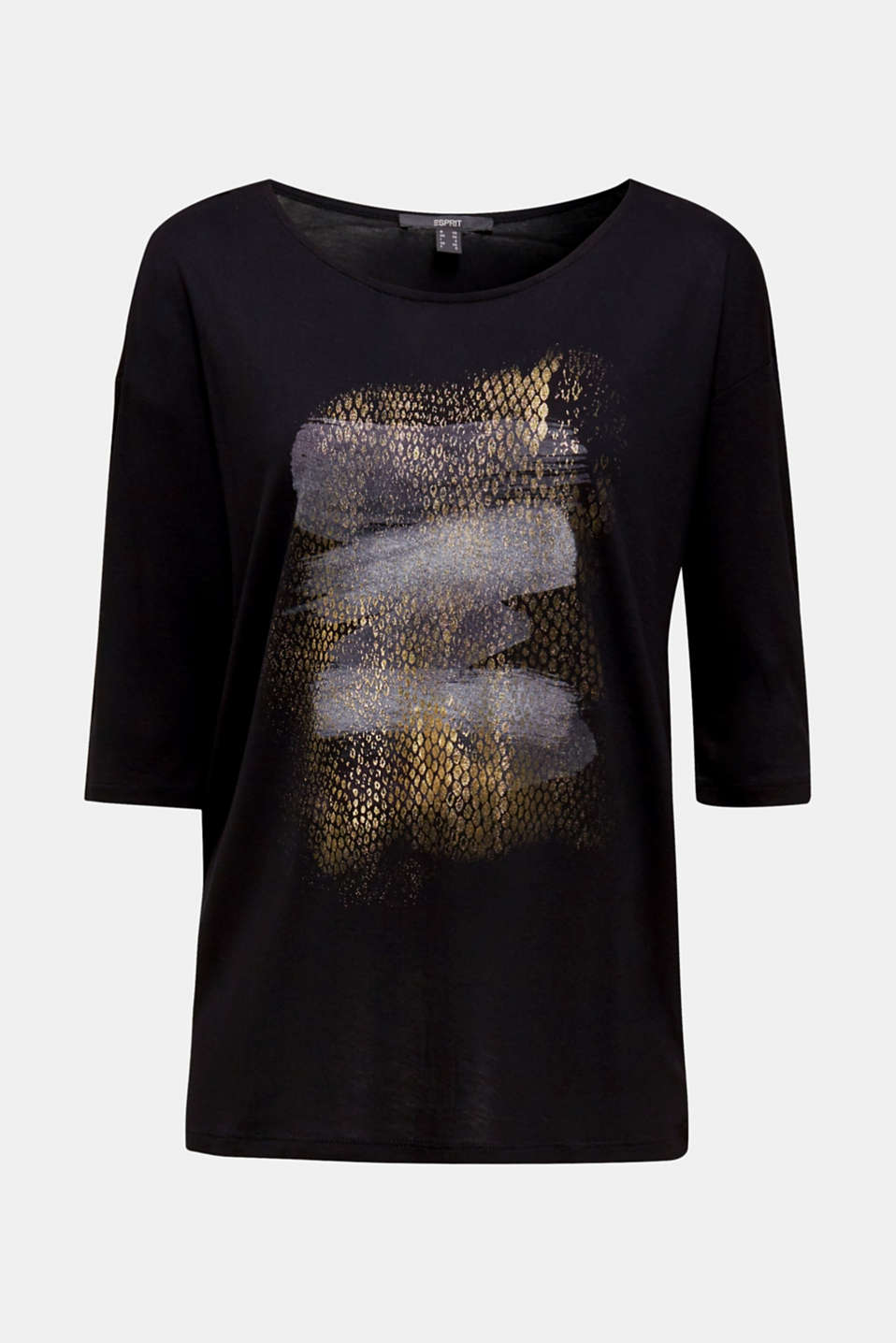 T-shirt with glitter print, BLACK, detail image number 6