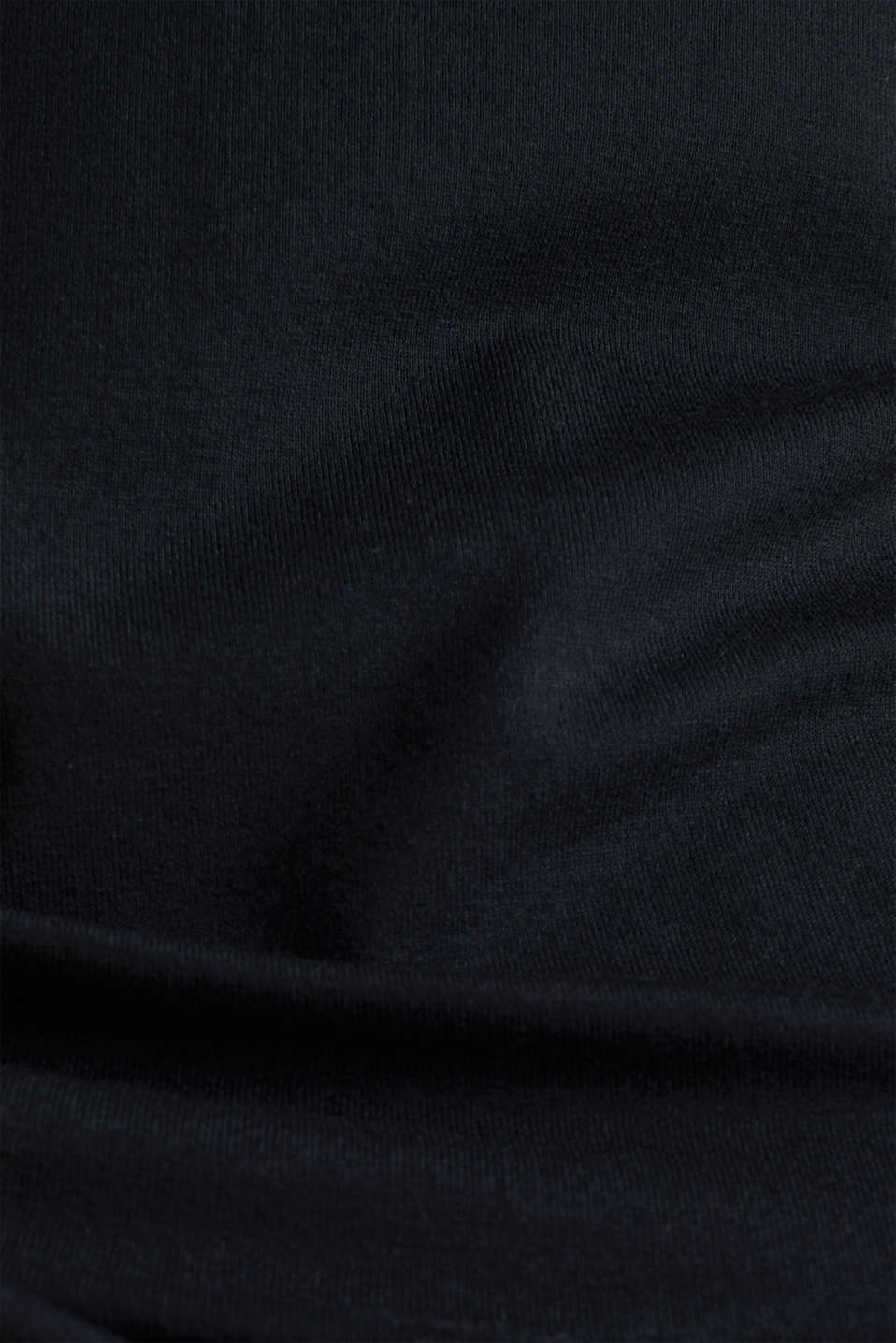 Stretchy long sleeve top with a pussycat bow, BLACK, detail image number 3