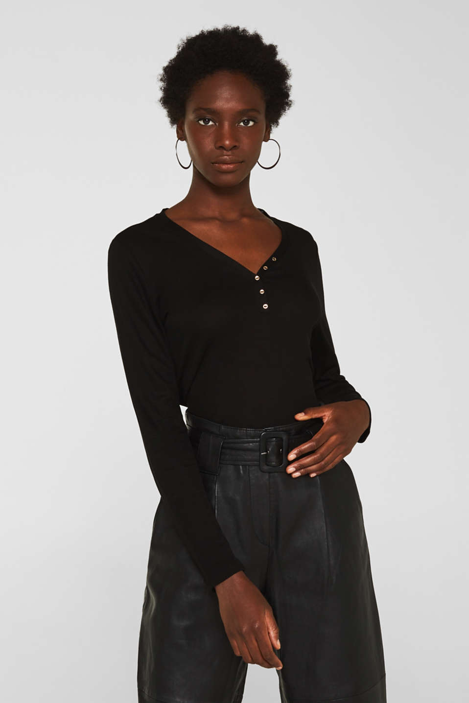 Henley long sleeve top made of 100% lyocell, BLACK, detail image number 0