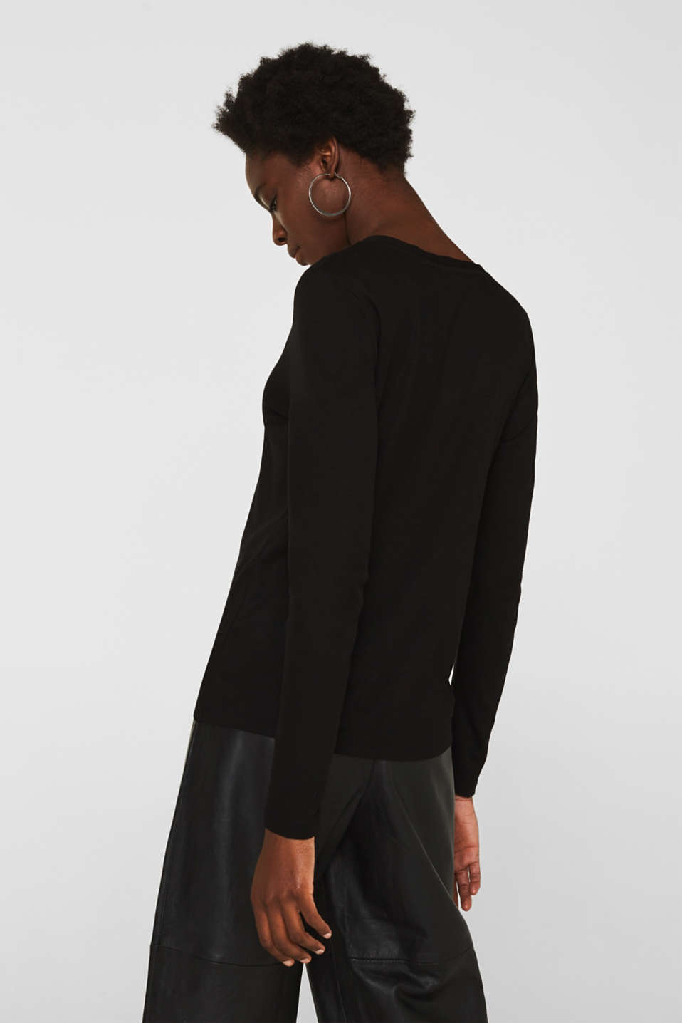 Henley long sleeve top made of 100% lyocell, BLACK, detail image number 3