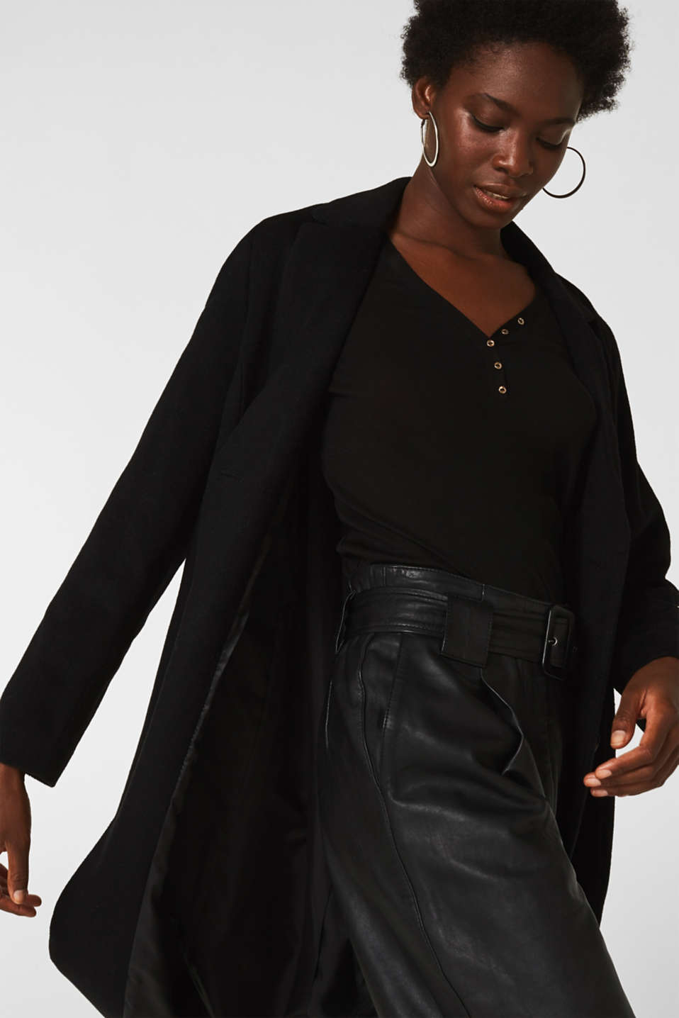 Henley long sleeve top made of 100% lyocell, BLACK, detail image number 4