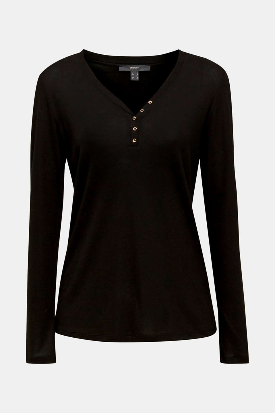 Henley long sleeve top made of 100% lyocell, BLACK, detail image number 5