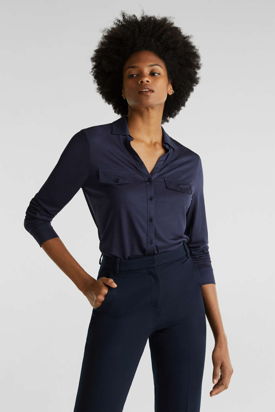 Esprit - Long sleeve top with an open polo collar