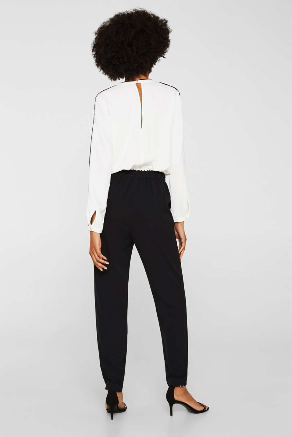 Flowing jumpsuit in a colour block look, BLACK, detail image number 3