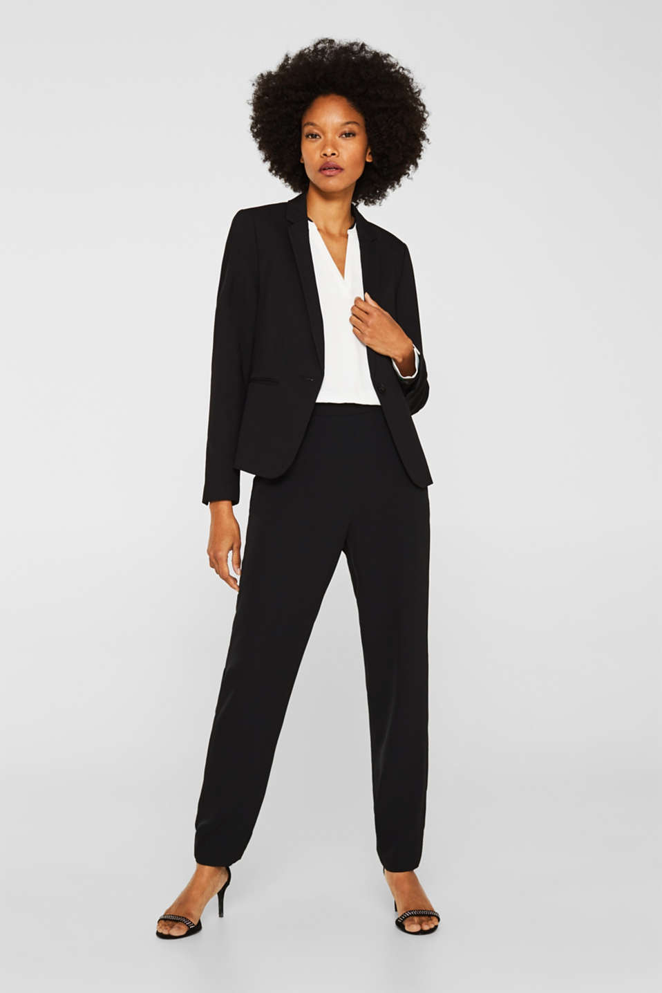 Flowing jumpsuit in a colour block look, BLACK, detail image number 1