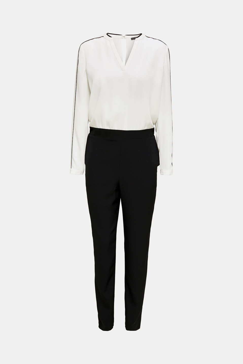 Flowing jumpsuit in a colour block look, BLACK, detail image number 6