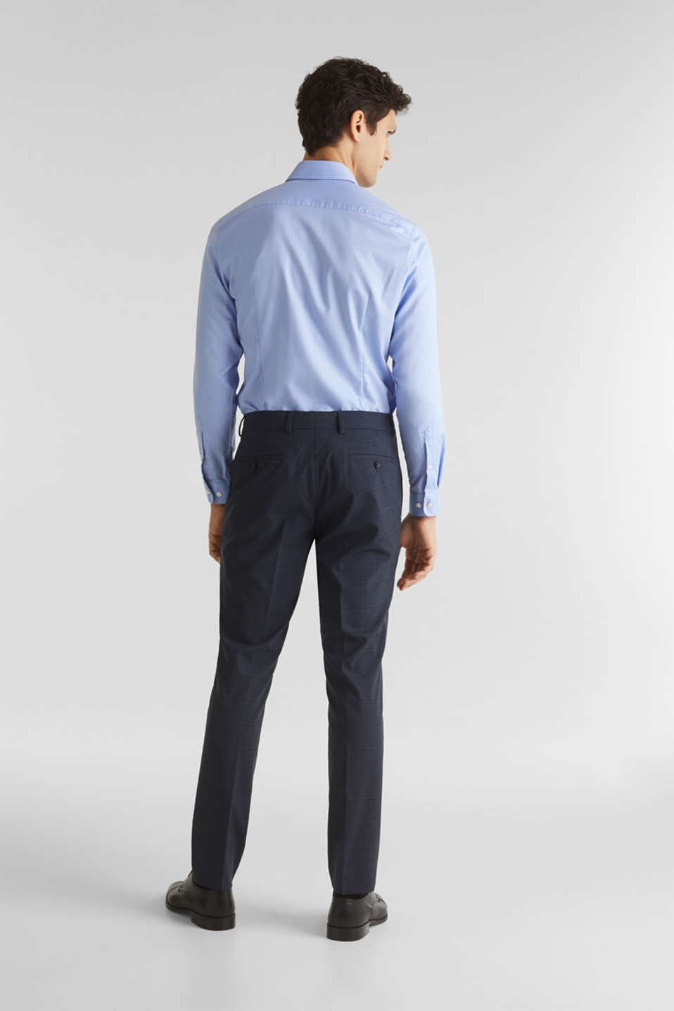 WINDOW CHECK mix + match trousers with stretch, DARK BLUE 3, detail image number 1