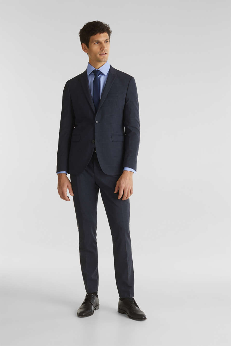 WINDOW CHECK mix + match trousers with stretch, DARK BLUE 3, detail image number 2