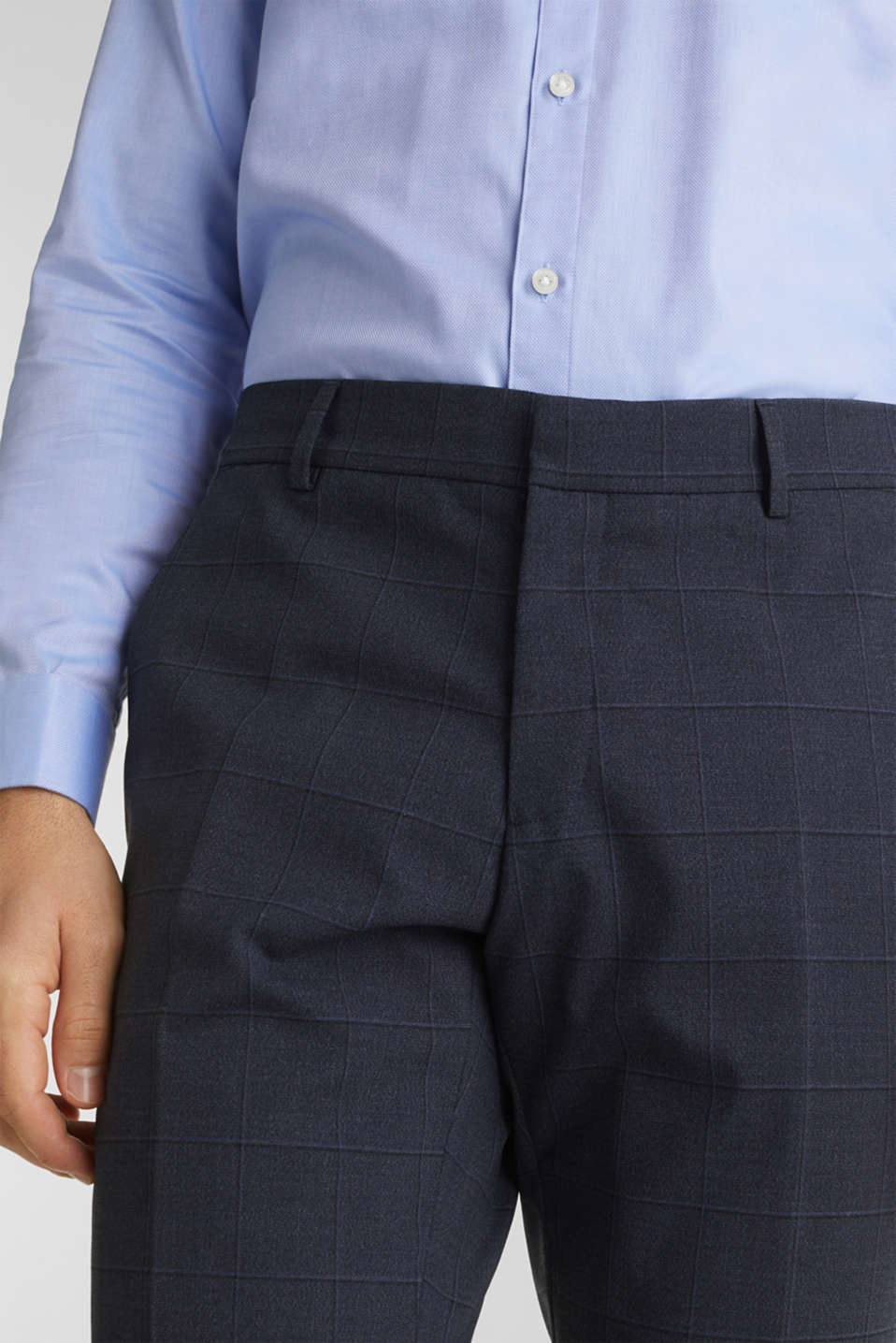 WINDOW CHECK mix + match trousers with stretch, DARK BLUE 3, detail image number 3