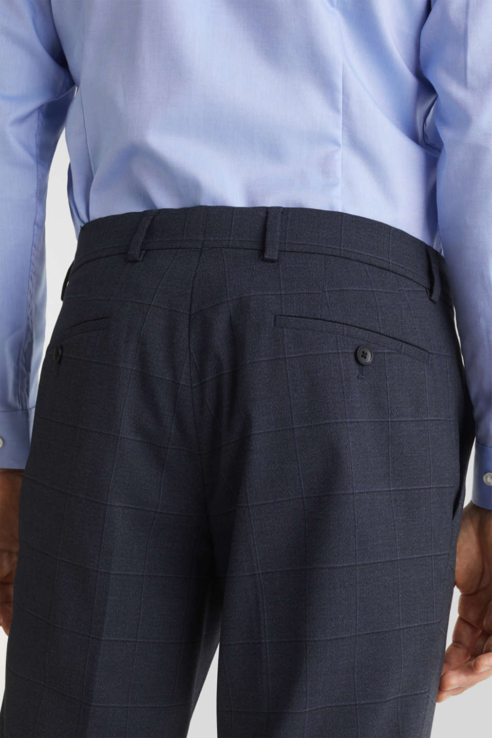 WINDOW CHECK mix + match trousers with stretch, DARK BLUE 3, detail image number 5