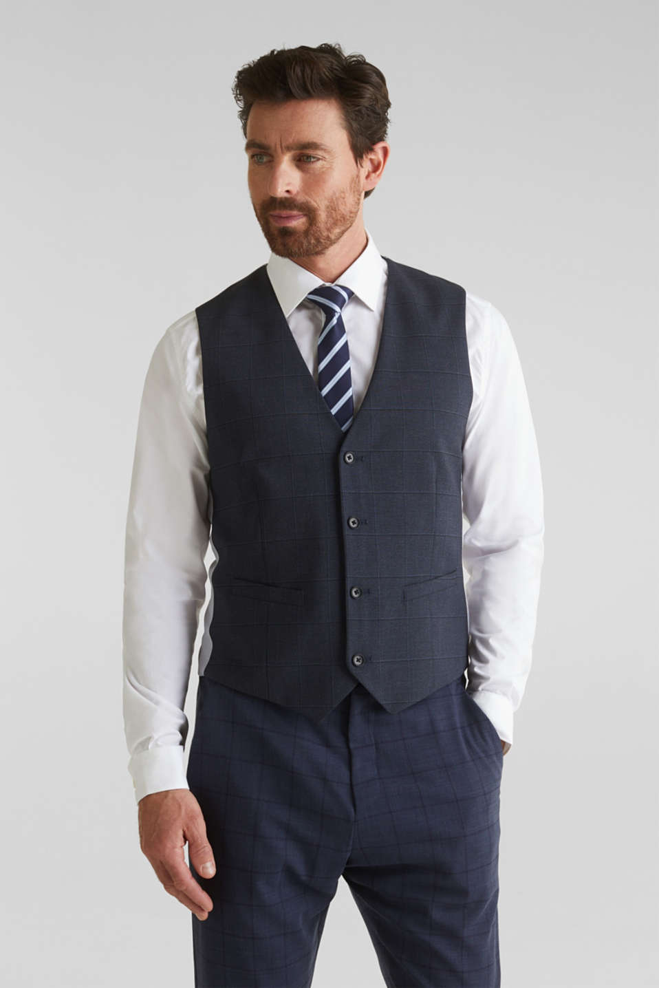 WINDOW CHECK mix + match: waistcoat, DARK BLUE 3, detail image number 0