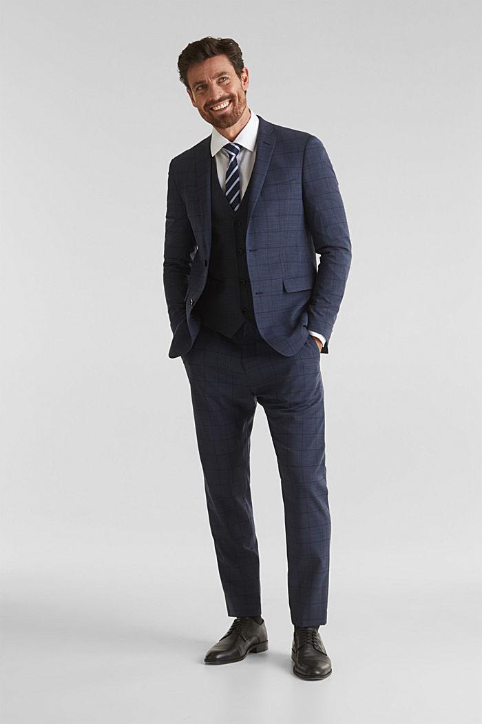 WINDOW CHECK mix + match: waistcoat, DARK BLUE, detail image number 1