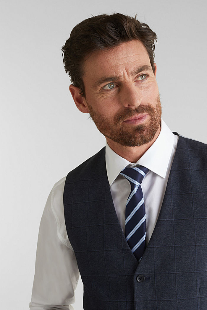WINDOW CHECK mix + match: waistcoat, DARK BLUE, detail image number 2