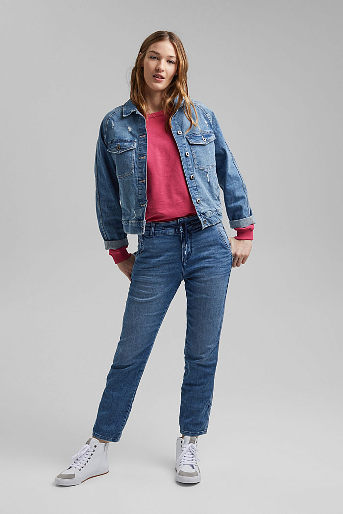Jogger-Jeans im Boyfriend-Cut, BLUE MEDIUM WASHED, detail image number 1