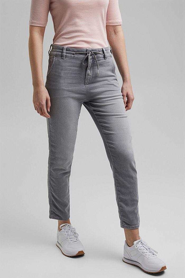 Jogger jeans met boyfriendmodel, GREY LIGHT WASHED, detail image number 0