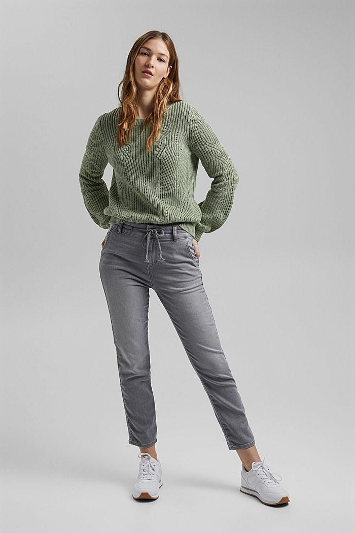 Jogger jeans met boyfriendmodel, GREY LIGHT WASHED, detail image number 1