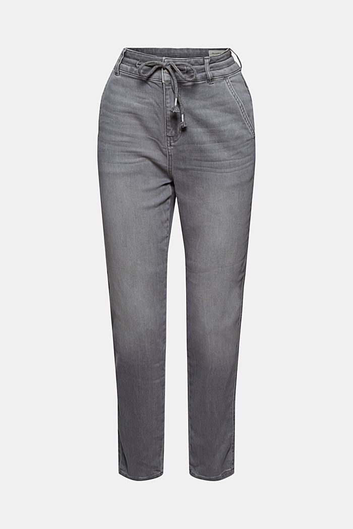 Jogger-Jeans im Boyfriend-Cut, GREY LIGHT WASHED, overview