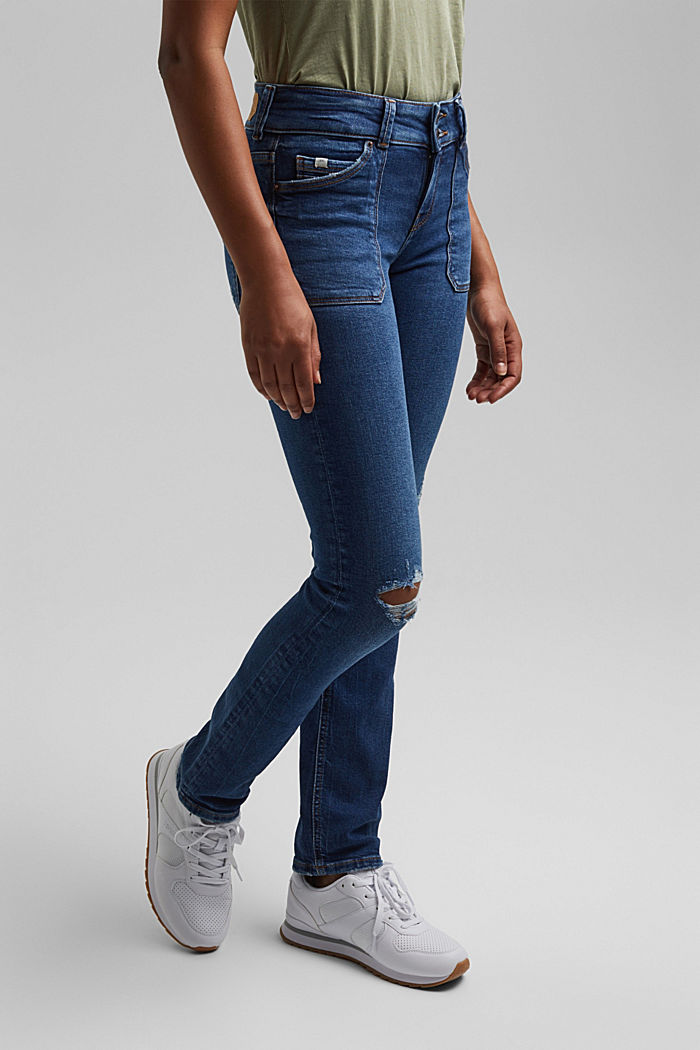 Distressed two-button jeans with organic cotton, BLUE DARK WASHED, detail image number 0