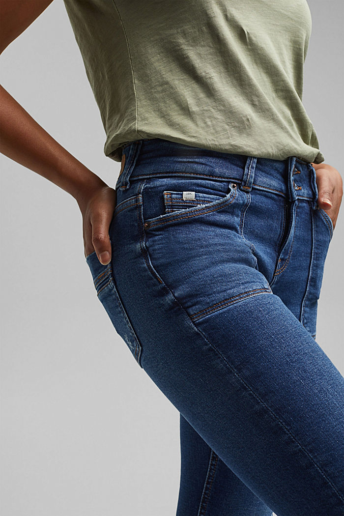 Distressed two-button jeans with organic cotton, BLUE DARK WASHED, detail image number 2