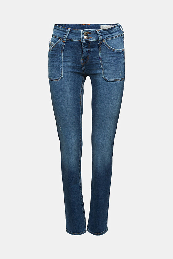 Destroyed 2-Knopf-Jeans mit Organic Cotton, BLUE MEDIUM WASHED, overview