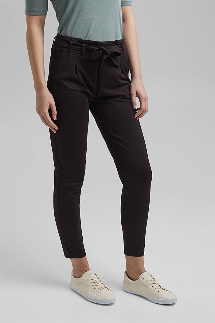 Joggingbroek met paperbag-band en ceintuur, BLACK, detail image number 0