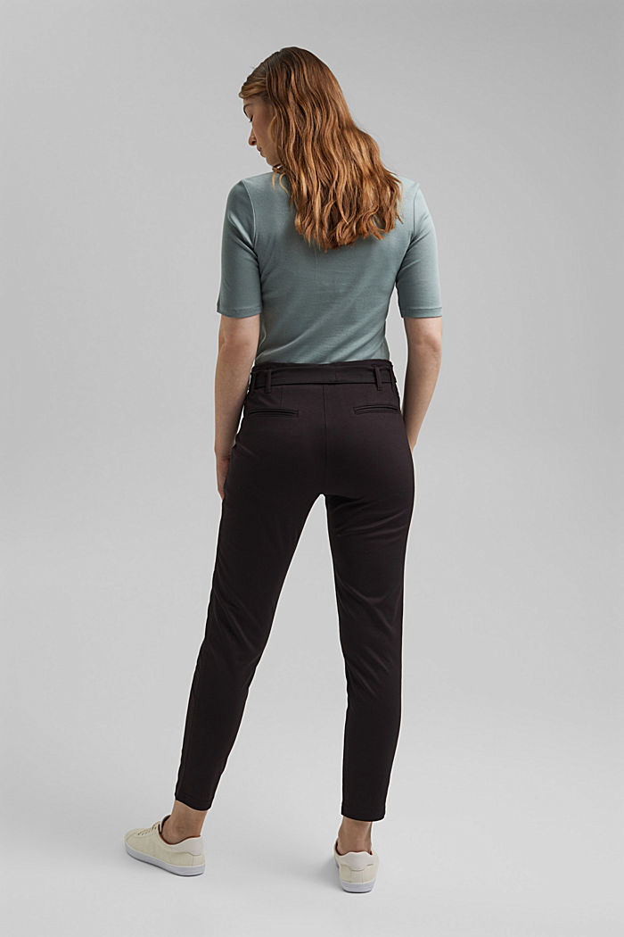 Joggingbroek met paperbag-band en ceintuur, BLACK, detail image number 3