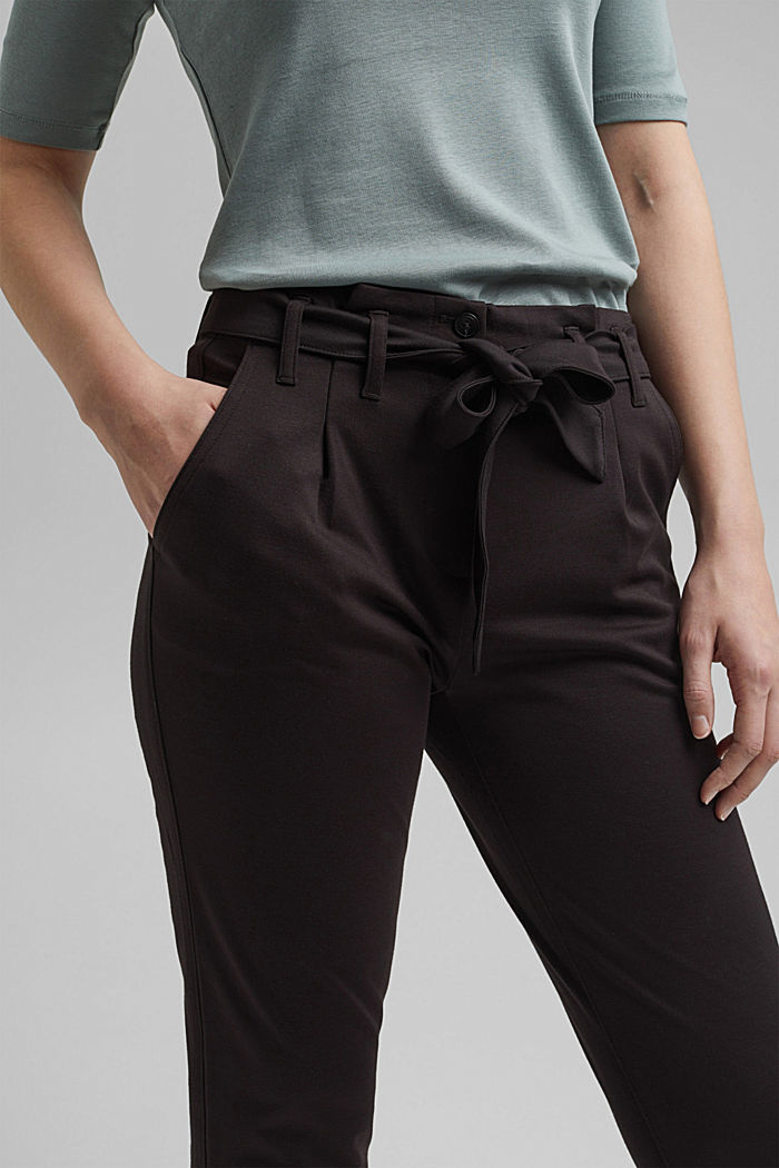Joggingbroek met paperbag-band en ceintuur, BLACK, detail image number 2