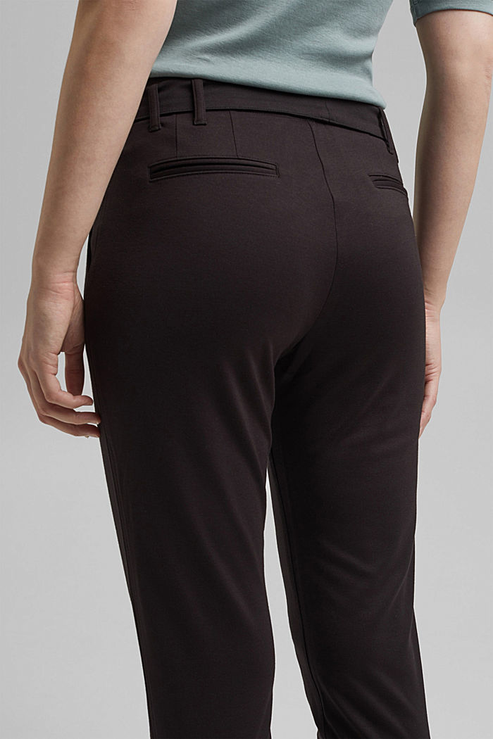 Joggingbroek met paperbag-band en ceintuur, BLACK, detail image number 5