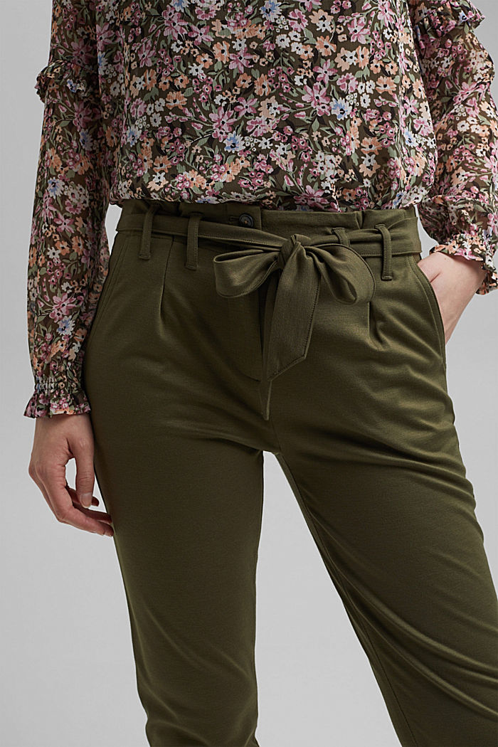 Tracksuit bottoms with a paperbag waistband and belt, KHAKI GREEN, detail image number 2