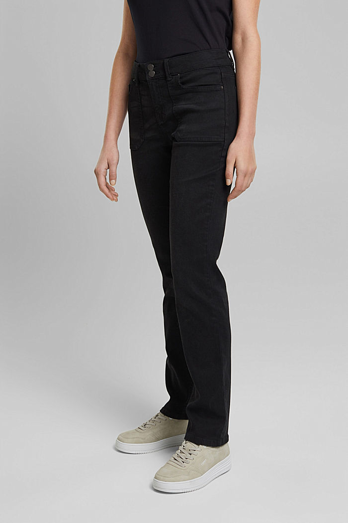 Stretch trousers with patch pockets, BLACK, detail image number 0