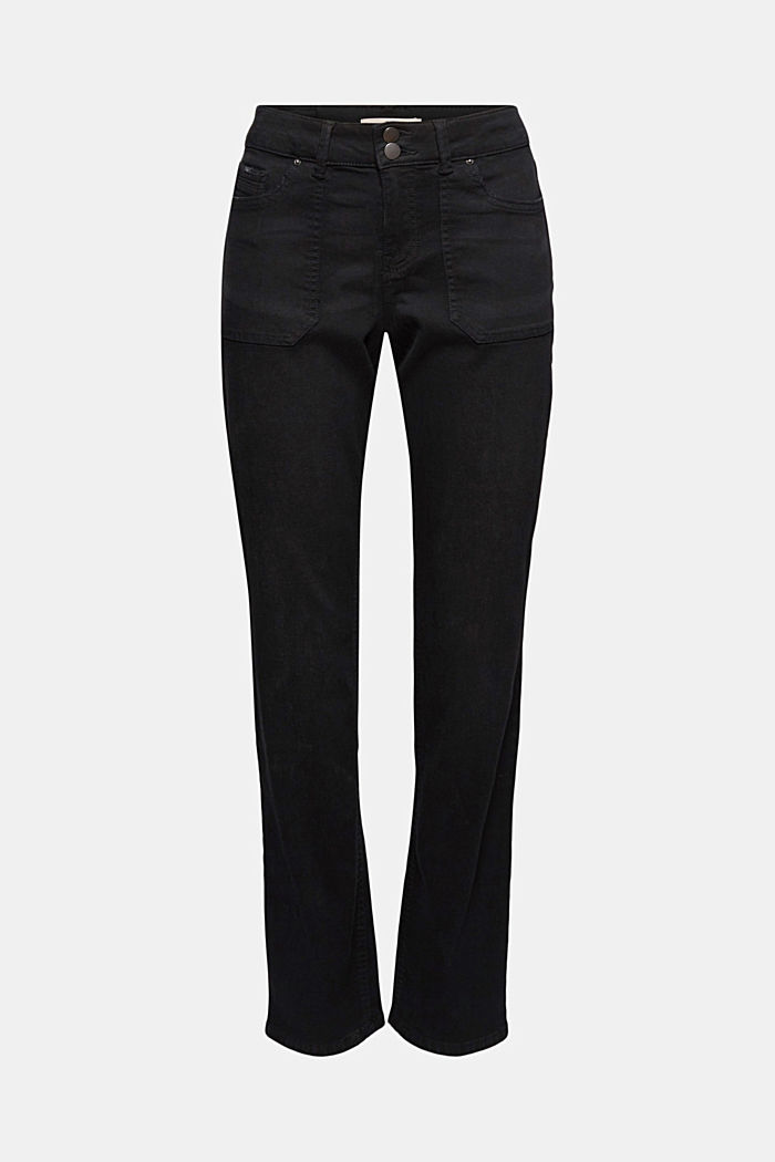 Stretch trousers with patch pockets, BLACK, detail image number 5