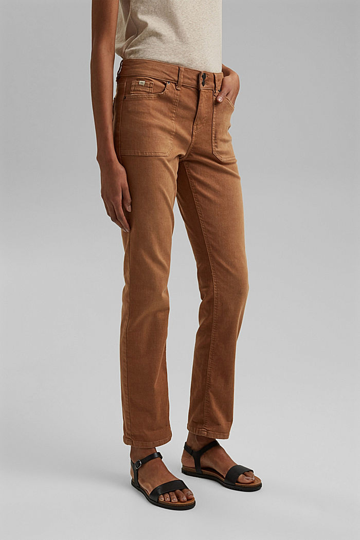 Stretch trousers with patch pockets, CARAMEL, detail image number 0