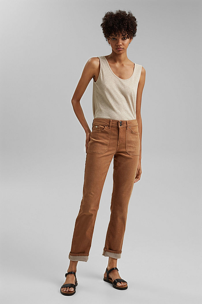 Stretch trousers with patch pockets, CARAMEL, detail image number 1