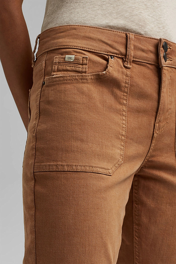 Stretch trousers with patch pockets, CARAMEL, detail image number 2