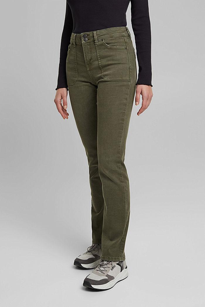 Stretchbroek met opgestikte zakken, KHAKI GREEN, detail image number 0