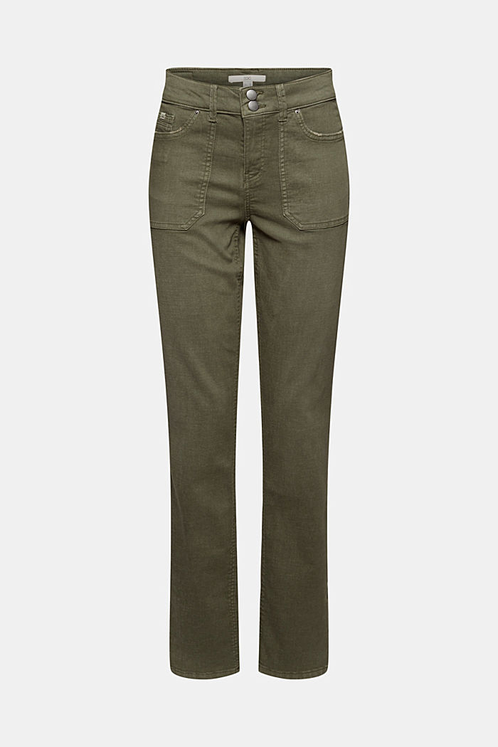 Stretch trousers with patch pockets